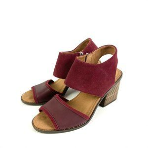 Toms Majorca Sandal Burgundy 8 Suede Leather NEW